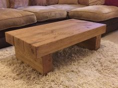 Oak beam coffee table 3 Beam Dark oak Rustic by StapehillWorkshop,