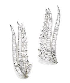 Pair of Platinum and Diamond Brooches