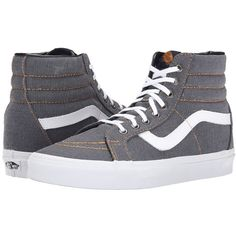 Vans SK8-Hi Reissue Dark Shadow) Skate Shoes ($70) ❤ liked on Polyvore featuring shoes, sneakers, pattern leather shoes, leather shoes, print shoes, cushioned shoes and print sneakers