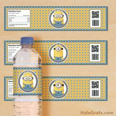 FREE minion water bottle label printable in PDF format will make a great addition to your minion birthday party. The PDF prints 3 minion water bottle labels. Minion Theme, Minion Birthday, Boy Birthday, Birthday Ideas, Festa Party, I Party, Party Ideas, Despicable Me Party, Minion Party Favors