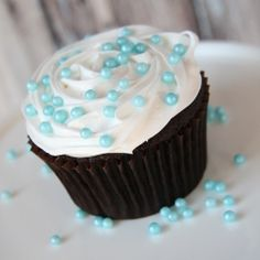 Cupcakes met blauwe sprinkels