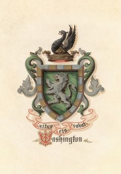 """President Washington's coat of Arms """"the outcome justifies the deed"""" Framed Wall Art, Wall Art Prints, Arm Art, Family Crest, Crests, Coat Of Arms, Banner, Middle Ages, American History"""