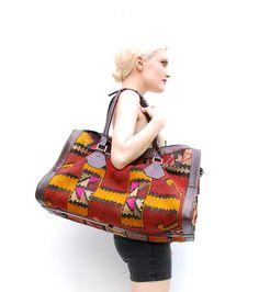 Vintage Turkish Kilim Weekender Bag - Navajo Weekender - Oversized Leather Bag - Woven Southwestern Tapestry Bag. via Etsy.