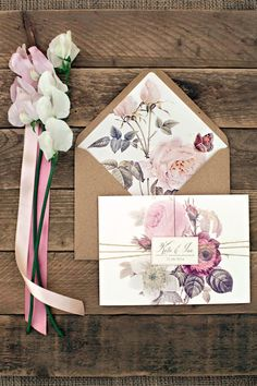 Wedding invite - love the decorated inside of the envelope!