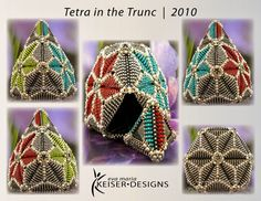 Eva Maria Keiser Designs: Vessel: Tetra in the Trunc Jewelry Art, Beaded Jewelry, Beaded Bead, Jewellery, Beading Tutorials, Beading Patterns, Beaded Boxes, Beaded Ornaments, Peyote Stitch