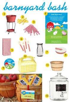 Host a farm birthday party or baby shower with fun party supplies from thecelebrationshoppe.com and more #farmparty #barnyardparty