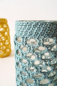 teal crochet jar cosy tea light holder vase by edwardandlilly, $25.00