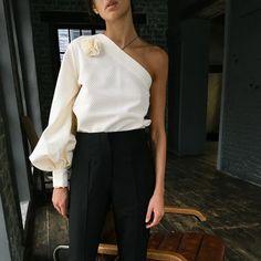 One Shoulder Top and High Waisted Pants (Vafa Adams)