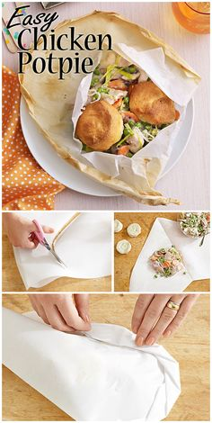 "This simple recipe uses refrigerated biscuits and parchment paper packets to create a quick and delicious Chicken ""Potpie."" (Oh, and did we mention there's almost zero cleanup? Quick Summer Meals, Quick Meals, Easy Chicken Pot Pie, Chicken Recipes, Healthy Cooking, Healthy Recipes, Good Food, Yummy Food, Eating Fast"