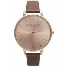 Olivia Burton Big Dial Rose Gold Plated Watch - Brown ($97) ❤ liked on Polyvore featuring jewelry, watches, brown, dial watches, olivia burton, olivia burton watches, brown wrist watch and rose gold plated jewelry