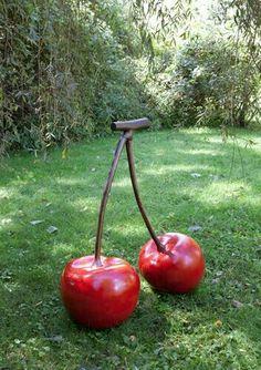 Cherry Sculpture by Robert Kuo Sculpture Art, Garden Sculpture, Sculptures, Sweet Olive Tree, Cherry Fruit, Cherry Baby, Cute Furniture, Cement Art, Cherries Jubilee