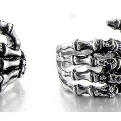 Men's Stainless Steel Ring Band Silver Black Skull Hand Bone Gothic ($0.99) ❤ liked on Polyvore featuring men's fashion, men's jewelry, men's rings, mens watches jewelry, mens stainless steel rings, mens rings, mens band rings and mens gothic rings