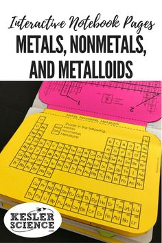 Classify elements as metals, nonmetals, and metalloids, and shade them different colors on a periodic table. Compare and contrast the different properties and the common uses in this flip book. Turn science notebooks into a fun, interactive, hands-on learning experience for your upper elementary or middle school students! Grades 5th 6th 7th 8th 9th 10th Teaching Chemistry, Chemistry Lessons, Science Lessons, Chemistry Notes, Chemistry Class, Science Experiments, 8th Grade Science, Middle School Science, Science Notebooks