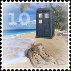 BLUE BOX BEACH BUM 10 STAMP Postage stamp photo edit by Cheryl Duncan~the Blue Box Beach Bum