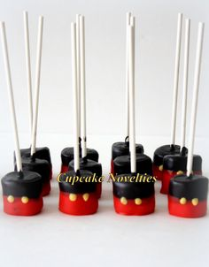 Buy online on Etsy! Perfect dessert and/or party favors for your Mickey Mouse Clubhouse themed birthday party! Delicious Chocolate dipped Marshmallow Pops, dipped in red & black chocolate with yellow buttons!