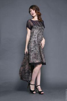 """Купить валяное платье """" Зимние сумерки"""" - авторское платье, платье, платье коктейльное"""