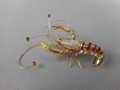 Lot: 14K Yellow Gold Diamond Ruby Lobster Slide Pendant, Lot Number: 0012, Starting Bid: $1, Auctioneer: Jasper52, Auction: Fine Jewelry & Gemstones Auction, Date: September 3rd, 2017 EDT