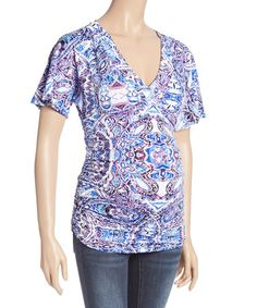 Look at this #zulilyfind! Lavender Geometric Ruched Maternity Surplice Top - Plus Too #zulilyfinds