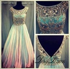 AHP101  New Arrival Cap Sleeve Sparkly Beaded Bodice Tulle Skirt Prom Dresses 2017 Long Party Dresses