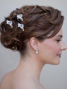 Elegant Rhinestone Hairpins by Hair Comes the Bride  www.HairComestheBride.com
