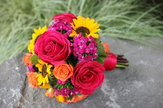 Gorgeous Sunflower and Rose Bridal Bouquet