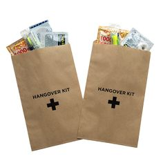 Paper Hangover Kit Bags Paper hangover kit bags are a great way to spice up your bachelorette party, bachelor party or to include in your wedding welcome bags. See our wedding welcome bags to get an idea how you can add these. Our wedding welcome boxes already have them included.