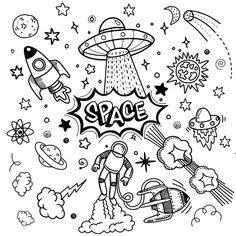 Vector flat space design background with text. Cute template with Astronaut, Spaceship.Hipster typographic doodle lettering and elements Space Drawings, Art Drawings Sketches, Easy Drawings, Drawing Designs, Griffonnages Kawaii, Kritzelei Tattoo, Mom Tattoos, Space Doodles, Doodle Art Drawing