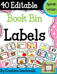 Book Bin Labels in Spanish! Includes 40 Editable Labels!