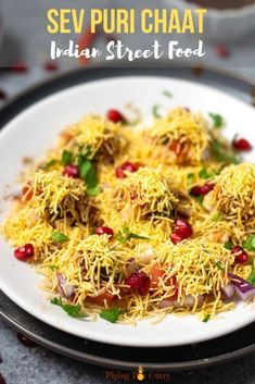 Learn how to make the popular street food - Sev Puri, a sweet, spicy & tangy chaat. Made with crispy puri topped with potatoes, chutneys & crunchy sev. Indian Snacks, Indian Food Recipes, Vegetarian Recipes, Indian Breads, Mumbai Street Food, Indian Street Food, Tea Time Snacks, Appetizer Recipes, Snack Recipes