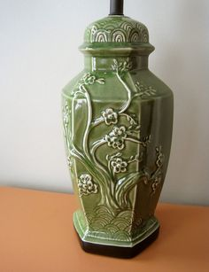 Vintage Green Chinoiserie Lamp by behindtheorangedoor on Etsy, $125.00