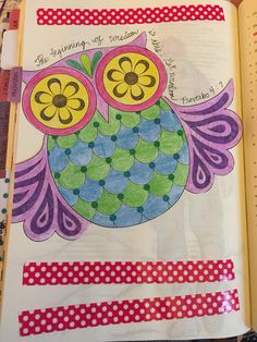 Proverbs bible journaling, wisdom, owl, illustrated Faith, bible, washi, colored pencils