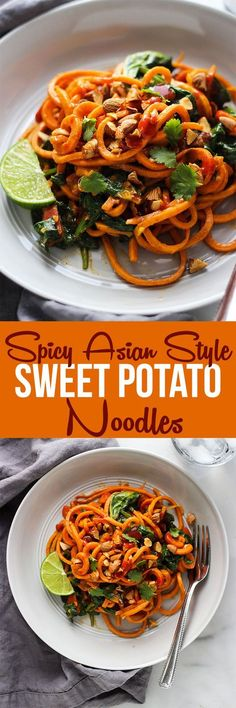Spice up your weekly dinner routine with these spicy Asian style sweet potato noodles which whip up in just 30 minutes in one pot! Zoodle Recipes, Spiralizer Recipes, Vegetable Recipes, Vegetarian Recipes, Healthy Recipes, Vegetarian Lifestyle, Healthy Foods, Healthy Life, Sweet Potato Noodles