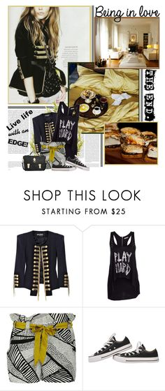 """""""Create an edge!"""" by are-you-with-me ❤ liked on Polyvore featuring Oris, Balmain, sass & bide, Converse and Mulberry"""