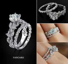 Vancaro Leaf Design 925 Sterling Silver White Gold Plated Ring Set. It's like my dream come to life.