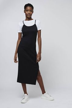 Hybrid dress with white t-shirt under black cami midi dress. So 90s. http://www.iamintothis.com/2016/02/want-something-new-to-wear-heres-50.html?m=0