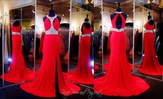 Red Jersey Prom Dress-Cut Outs-Beaded High Neck-Open Back - 115JC0545803780