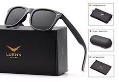 b7b21e3bb20 Mens Wayfarer Sunglasses Polarized Womens  UV 400 Protection Glossy Frame  54MM by LUENX with Case