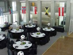 Soccer spandex tablecloths and soccer centerpiece