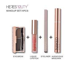 4 pcs/1 set Brand HERES B2UTY MUST BUY Base Makeup Set eyebrow+matte lip gloss+eyeliner+mascara