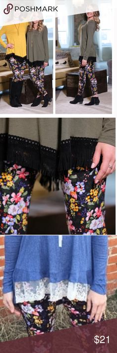 💎Super Buttery Soft Brushed Floral Knit Legging💎 💎These extremely buttery soft and comfortable Soft Brushed Floral Knit Leggings are made of 92% Polyester and 8% Spandex. They are truly a beautiful mix of colors and can go with almost any top. Check them out with the Fringed Green Tunic and a black scarf or the soon to be here White Tunic from my closet. You can get a discount for the bundle💎 Infinity Raine Pants Leggings