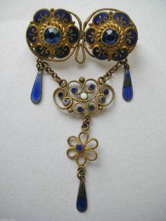 Antique Art Nouveau Lavalier Filligree Brooch Blue Enamel Czech Glass Diamantes   eBay