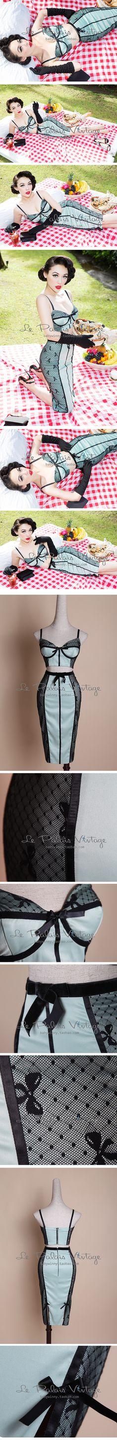 le palais vintage复古薄荷绿蕾丝拼接显瘦胸衣+铅笔裙套装0.4-淘宝网