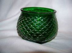 Vintage Green Glass Rose Bowl Vase Candy Dish -Fish Scale Scallop Design-