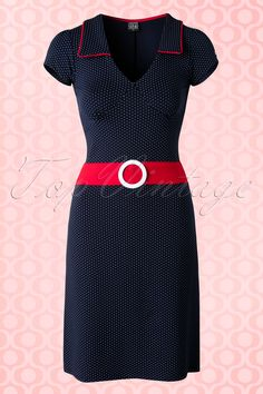 Mademoiselle YéYé ~ 60s Chloe Dots Dress in Navy and Red