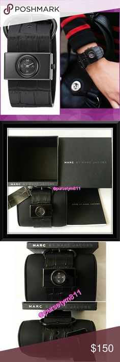 HOSTPICKAuthentic Marc by Marc Jacobs Watch % AUTHENTIC  Gorgeous women's watch from Marc by Marc Jacobs  Black toned stainless steel watch with a black, double wrap leather strap & rectangular case. Case size: 33mm Band width: 30mm. Analog quartz movement. Case diameter: 33mm. Water resistant to 165 feet. Box, booklet, tag included. NO TRADE ❌ Marc by Marc Jacobs Accessories Watches