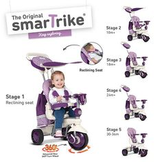 Your child will have a wonderful day out with the Smart Trike Explorer in Purple. This trike has many different amenities that adjust to your growing child for years of use. With Touch Steering technology, you can easily guide this trike in all directions, and the shock absorbers lead to a smoother ride.