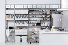 SUS Shelves, by Muji   Why Modular Shelving Is the Best Investment Furniture Industrial Shelving Units, Modular Shelving, Diy Storage Shed, Kitchen Storage, Muji Storage, Art Nouveau, Log Home Kitchens, Muji Home, Hallway Cabinet