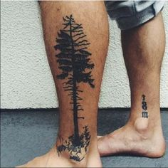 erkek alt bacak ağaç dövmesi man lower leg tree tattoo