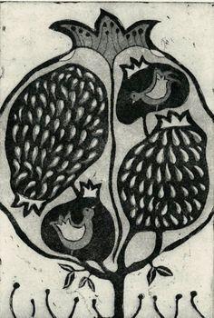 Etching, pomegranate, lemon, orange, tree, stylized, black and white, seeds…