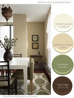 How to put together soothing color palettes for Interiors including bathrooms, bedrooms and dining rooms. Dining Room Colour Schemes, Dining Room Colors, Interior Color Schemes, Interior Design Advice, Paint Colors For Living Room, Paint Colors For Home, Dining Room Design, House Colors, Entryway Paint Colors